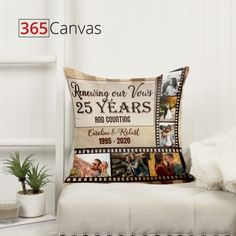 We selected some of our favorite present ideas to celebrate the 25th wedding anniversary. Browse to choose the best silver wedding anniversary gifts for him. #25year#weddinganniversary#couple#parents#pillow