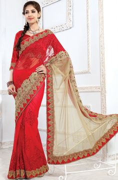 Radiant Red And Beige Color Wedding Wear Half N Half Saree Indian Bridal Sarees, Indian Designer Sarees, Bridal Lehenga, Saree Wedding, Wedding Wear, Lehenga Style Saree, Red Saree, Saree Look, Saree Blouse