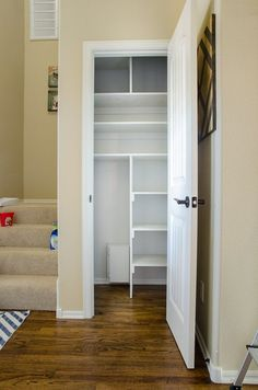 From Coat Closet to Cleaning Closet Organizing in Style From Coat Closet to Cleaning Closet Organizing in Style Lilyblue lilybluess Aufr umen 038 ordnung We have a small coat closet nbsp hellip Small Coat Closet, Front Closet, Hallway Closet, Utility Closet, Small Closets, Closet Bedroom, Small Closet Storage, Closet Shelving, Small Deep Closet
