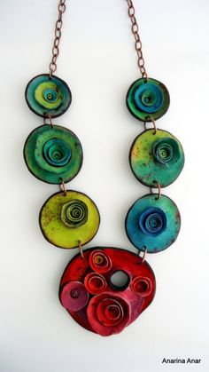Polymer clay necklace by AnarinaAnar on Etsy