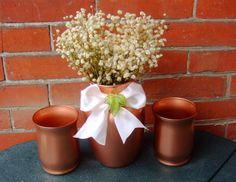 Copper Wedding Decoration / Copper Wedding by CarolesWeddingWhimsy, $29.99set of 3, Metallic Copper Vase and Pillar Candle Holder with an Ivory Ribbon and a Green Maple Leaf.....perfect for your Thanksgiving Table....I have matching maple leaf clothespin place cards and food pics.  Check them out at https://www.etsy.com/listing/159622847/copper-wedding-decoration-copper-wedding