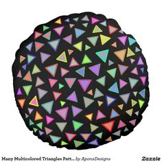 Many Multicolored Triangles Pattern Round Pillow, Triangle Pattern, Triangles, Color Patterns, Decorative Throw Pillows, Colorful, Fun, Design, Decorative Pillows