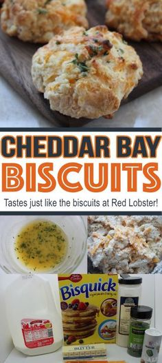Copycat Red Lobster Biscuits- These cheddar bay biscuits taste just like what you will find at Red Lobster! This is one copycat recipe that you want to SAVE! Copycat Recipes, Great Recipes, Dinner Recipes, Favorite Recipes, Restaurant Recipes, Dessert Recipes, Red Lobster Biscuits, Cheddar Bay Biscuits, Red Lobster Cheddar Bay Biscuit Recipe