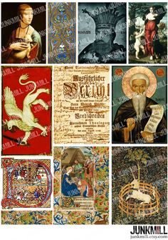 MIDDLE AGES Collage Sheet with gryphon, unicorn and illuminations, by JUNKMILL