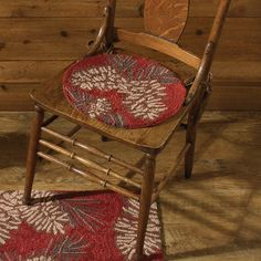 Chair Pad with Ties - Hooked - Pinecone by Park Designs - Rust Brown Tan Rustic Design, Rustic Decor, Farmhouse Decor, Hanging Swing Chair, Swinging Chair, Kitchen Chair Pads, Adirondack Chairs For Sale, Cabin Kitchens, Cool Chairs