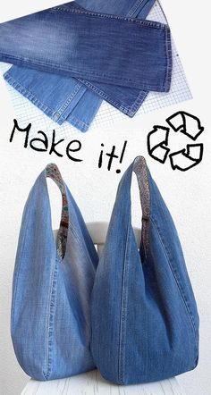 Jean Crafts, Denim Crafts, Denim Bag Patterns, Sewing Patterns, Diy Bags Patterns, Hobo Bag Patterns, Recycle Jeans, Diy Old Jeans, Denim Bags From Jeans