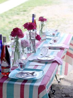 Carnival Stripes - 3 Stylish Summer Table Setting Ideas on HGTV