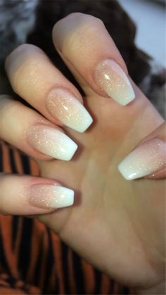 French Fade With Nude And White Ombre Acrylic Nails Coffin Nails French Ombre Nails with Gold Glitter;French Ombre Nails with Gold Glitter; French Fade Nails, Faded Nails, Ombre French Nails, Glitter French Nails, Nail French, Golden Glitter, Trendy Nails, Cute Nails, My Nails