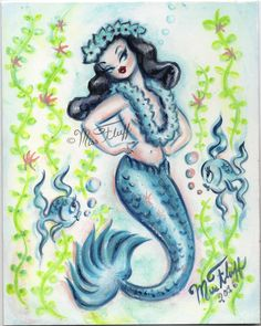 Hawaii inspired pinup mermaid with lei and flowered headpiece. Retro 1950's… Pin Up Mermaid, Mermaid Diy, Vintage Mermaid, Vintage Girls, Vintage Stuff, Miss Fluff, Unicorns And Mermaids, Mermaids And Mermen, Mermaid Illustration