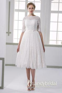 ウェディングドレス ミモレ丈 柔らかいレース ボートネック 半袖 二次会ドレス JWXK15002