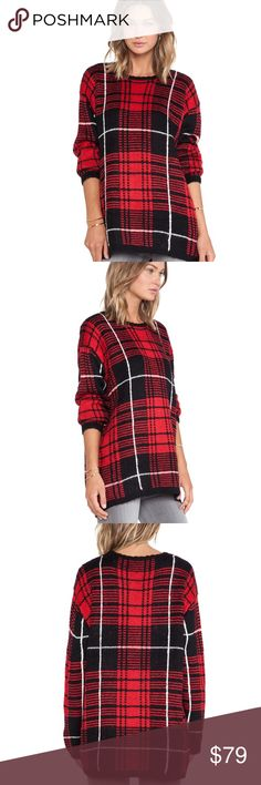 Unif Plaid Sweater Brand new with tags, edgy and super cozy, jumbo plaid, scoop neck, over sized fit, red black and tartan sweater by UNIF! Seriously a great quality sweater, especially since it's so thick and warm! UNIF Sweaters Crew & Scoop Necks