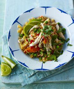 Chicken with rice (arroz con pollo) recipe - BBC Food Turkey Recipes, Rice Recipes, Chicken Recipes, Cooking Recipes, Recipies, Greek Recipes, Delicious Recipes, Dinner Recipes, Chicken Rice