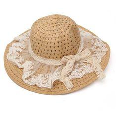 ab77b299fe3c1 Lace Bowknot Straw Sun Hat Wide Brim Summer Sunshade Beach Cap is designer