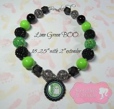 """""""Lime Green Boo"""" Chunky Beaded Necklace, Photo Prop, Girly, Halloween, Sale"""