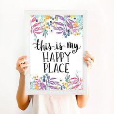 This is my happy Place, frases para la casa, decoración, cuadros acuarela, anclas, flores, lettering, rosas, nautico, casa de playa