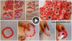 How to make hanging flowers - ArtsyCraftsyDad Hanging Paper Flowers, Diy Paper, Paper Crafts, Easy Crafts, Arts And Crafts, Floral Wall Art, Diy Hanging, Mothers Day Cards, Craft Tutorials