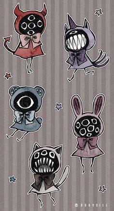 Eyeball Puppets by DrawKill on DeviantArt Creepy Drawings, Creepy Art, Cute Drawings, Arte Obscura, Art Et Illustration, Cartoon Art Styles, Art Reference Poses, Horror Art, Aesthetic Art