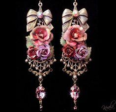 Shabby Chic EarringsVictorian Rose Earrings Handpainted by kerala, $62.00
