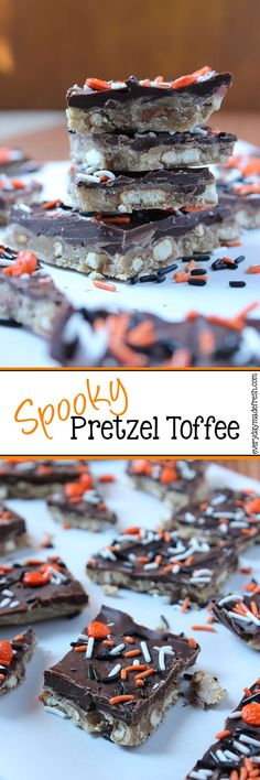 This simple Spooky Pretzel Toffee is the perfect sweet and salty combination for Halloween! | EverydayMadeFresh.com http://www.everydaymadefresh.com/spooky-pretzel-toffee/