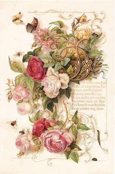 Raindrops and Roses Decoupage Vintage, Vintage Ephemera, Vintage Cards, Vintage Postcards, Floral Vintage, Vintage Diy, Vintage Paper, Vintage Flowers, Vintage Prints