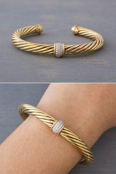 6c5ebf981 David Yurman 18K Gold Diamond Cable Cuff - Vintage Yurman Yellow Gold  Bracelet - Retro Anniversary