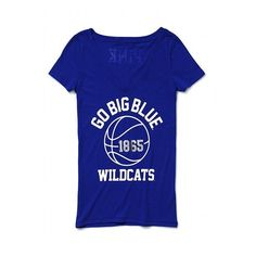 Victoria'S Secret University Of Kentucky V-Neck Basketball Tee ($27) ❤ liked on Polyvore featuring tops, t-shirts, women, blue t shirt, victoria secret t shirts, v neck graphic tees, basketball tee and print t shirts