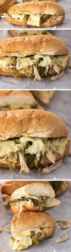 SLOW COOKER CHICKEN PHILLY SANDWICHES - dinner doesn't get much easier than this! Tender chicken, peppers and onions get piled on soft hoagie rolls, then topped with lots of melty cheese. These Chicken Cheesesteaks are easy to make any night of the week!