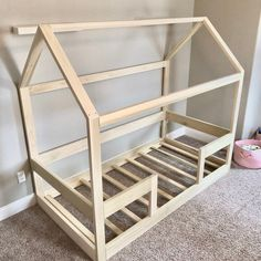 bed frame twin Twin House Bed Frame + railings + mattress slats Made in US House Beds For Kids, Toddler House Bed, Diy Toddler Bed, Toddler Rooms, Kid Beds, Toddler Bed Frame, Beds For Boys, Cool Kids Beds, Pallet Toddler Bed