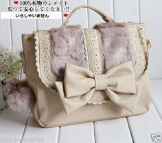 Liz Lisa Princess Fur Ribbon Bow Lace Satchel Leather Handbag 3 Way Backpack