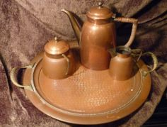 Antique Vintage Hammered Copper O.H. Lagerstedt Eskilstuna Swedish Tea Set Tray