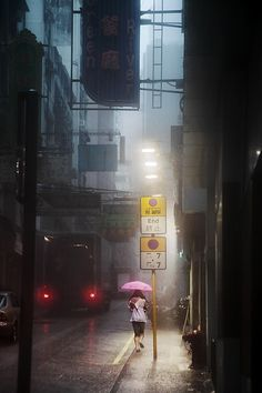 Hong-Kong in the Rain by Christophe Jacrot, looks eerily similar to Bladerunner the movie.