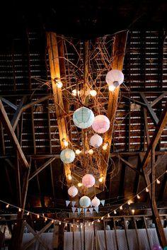 rustic wedding decor, paper lanterns