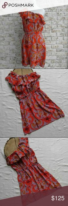 Nell Couture Ikat Print Dress 100% silk, one shoulder dress with orange, maroon, mustard and mauve ikat print! It's not lined but it certainly is gorgeous and it has pockets! It's gently used and without flaws! Thanks for looking! Nell Couture Dresses Mini