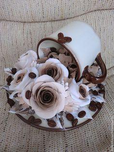 """Купить Кофейные розы """"Утренний латте"""" - коричневый, кофейные зерна, кофейные розы, ароматизаторы"""