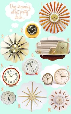 Vintage 50s Clocks [http://ohsolovelyvintage.blogspot.com/2012/08/anybody-have-time.html]