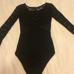 Lace black bodysuit Lace black bodysuit size small, worn a couple times. Lace is starting to get stringy, no holes or noticeable problems. Full lace arms, lace chest and back, mesh sides. Super cute on! Tops Blouses
