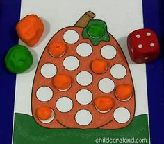 A math center playdough mat activity that children can play individually or in groups. Children roll the dice and use playdough to  cover up the same number of blank circles on the pumpkin that are displayed on the dice.The patterns come in both black as well in color and include markers that can be used instead of playdough.