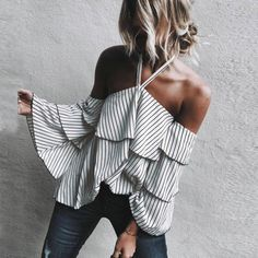 Womens Sexy Hanging Neck Off Shoulder Tops Ladies Casual Striped Long Sleeve Autumn Sexy Tops Blouse Women #804