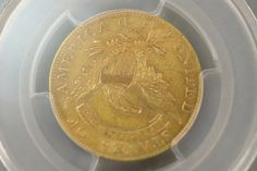 1809/8 Capped Draped Bust half Eagle five dollar gold coin, graded at PCGS AU50.  Provenance:  Property from a Private Collection Sold for the Benefit of the Virginia Historical Society.  Sold $6960.00