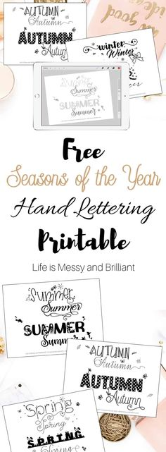 FREE Seasons of the Year Hand Lettering Practice Worksheets Hand Lettering For Beginners, Hand Lettering Practice, Hand Lettering Alphabet, Script Lettering, Doodle Lettering, Calligraphy, Typography, Printable Letters, Printable Planner