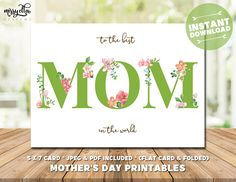 Floral Mother's Day Card - Mother's Day Printable - Floral Card for Mom - Mom's Day - Happy Mother's Day - Gifts for Mom, Gifts for Mum Mothers Day Cards, Happy Mothers Day, Mother's Day Printables, Floral Card, Mother's Day Greeting Cards, Pastel Flowers, Mom Day, Gifts For Mum, Best Mom