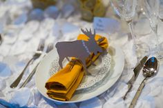 Yellow wedding decor. Table decor. Moose menu. Unique Wedding decor. Menu and Place card by: Platypus Papers.  Photo by: Modified PhotoGraphics  PRESENTED BY WHITE DAISY EVENTS