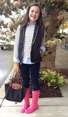 Love the sweater, collared shirt, and vest with dark bottoms. However I do not like the rain boots