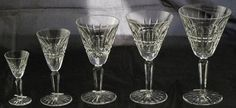 "Waterford Crystal ""Glenmore"" : Water Goblet (1 of 8), Claret Wine (1 of 7), White Wine (1 of 7), Sherry (1 of 3), Cordial (1 of 12)"