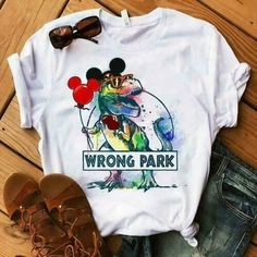 Mickey T-rex Dinosaur Wrong Park T-shirt Unisex White Cotton Cute Disney Outfits, Disney World Outfits, Disneyland Outfits, Cute Outfits, Disney Clothes, Disney Themed Outfits, Disneyland Vacations, Skater Outfits, Emo Outfits