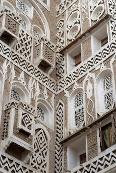 House detail. Old city of Sana'a. Gypsum is used for the decoration and detailing.