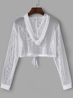 White Mesh Hollow Out Hoodie Crop Top