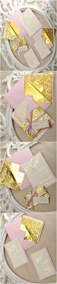 Gold & Pink Wedding Invitations - elegant and romantic #gold #sparkling #pink #weddingideas #glamorous #romantic #elegant #weddinginvitations