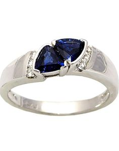 14KT White Gold Double Sapphire Diamond Ring