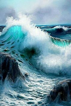 Seascape Digital Paintings by UK based artist Andy Simmons. From early ages, Andy liked to sketch fantasy castles and imaginative landscapes. In 1994 he No Wave, Sea Waves, Water Waves, Ocean Art, Ocean Life, Ocean Wave Painting, Sea And Ocean, Ocean Beach, Waves Photography